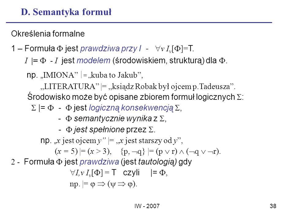 D. Semantyka formuł Określenia formalne
