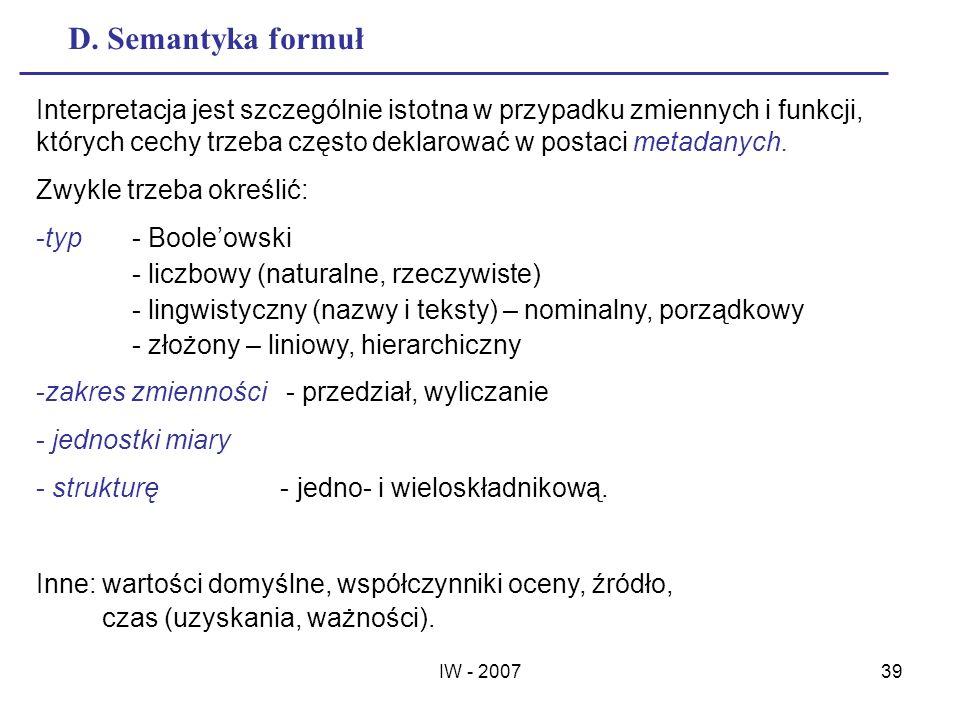 D. Semantyka formuł
