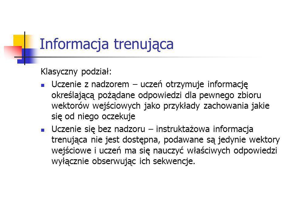 Informacja trenująca Klasyczny podział: