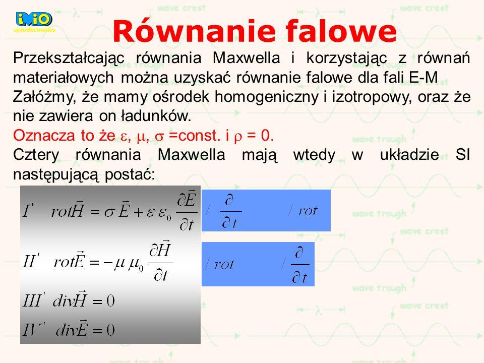 Równanie falowe optoelectronics. Przekształcając równania Maxwella i korzystając z równań materiałowych można uzyskać równanie falowe dla fali E-M.