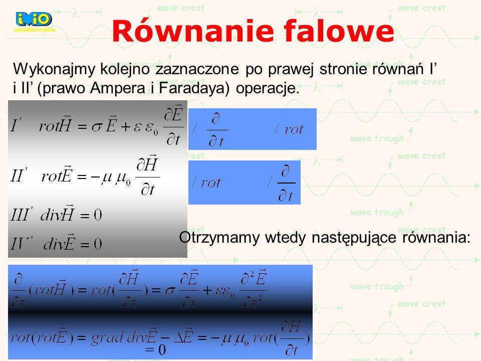 Równanie falowe optoelectronics. Wykonajmy kolejno zaznaczone po prawej stronie równań I' i II' (prawo Ampera i Faradaya) operacje.