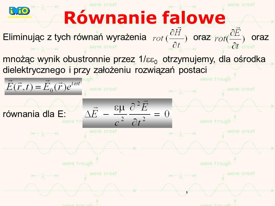 Równanie falowe Eliminując z tych równań wyrażenia oraz oraz