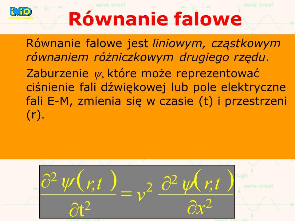( ) ¶2 y r,t = v ¶x2 ¶t2 Równanie falowe 2