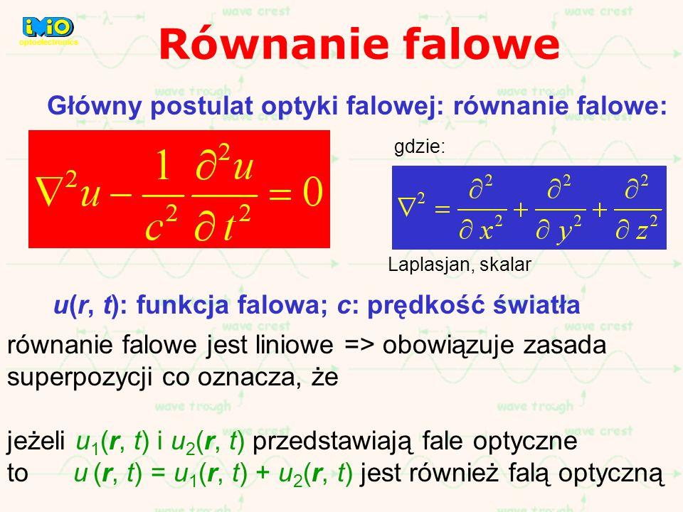 Równanie falowe Główny postulat optyki falowej: równanie falowe: