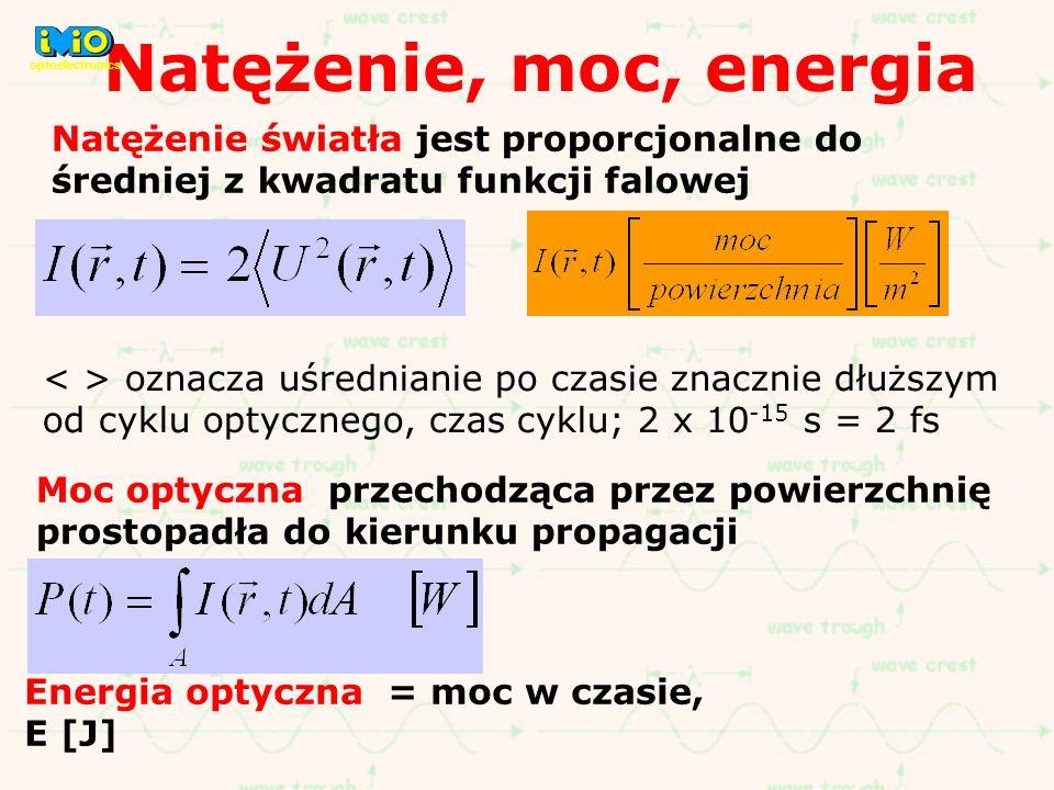 Natężenie, moc, energia optoelectronics. Natężenie światła jest proporcjonalne do średniej z kwadratu funkcji falowej.