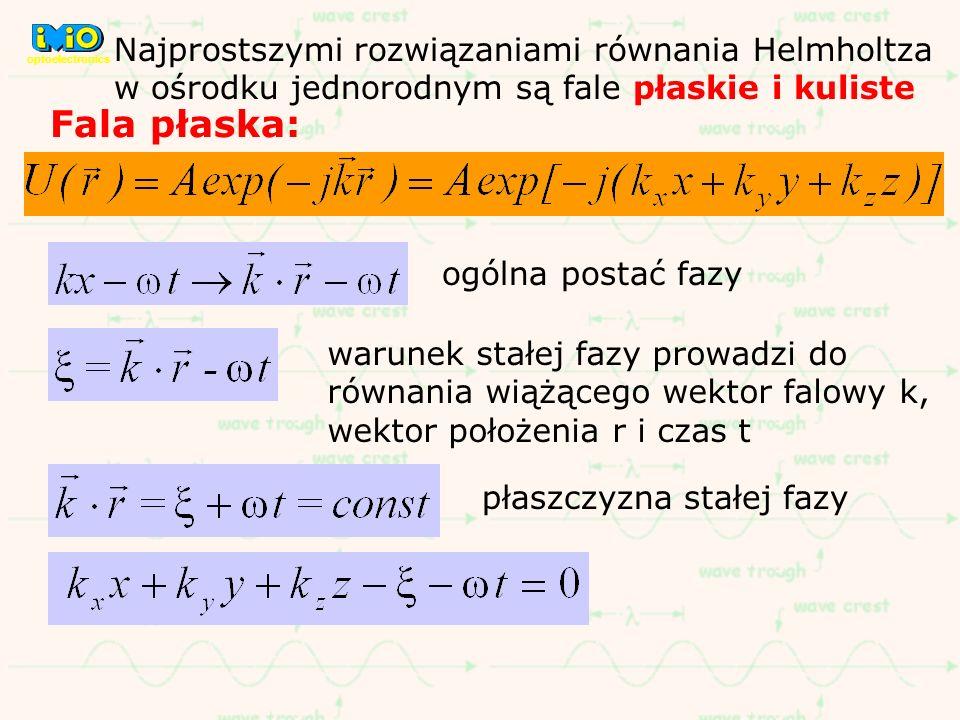 optoelectronics Najprostszymi rozwiązaniami równania Helmholtza w ośrodku jednorodnym są fale płaskie i kuliste.