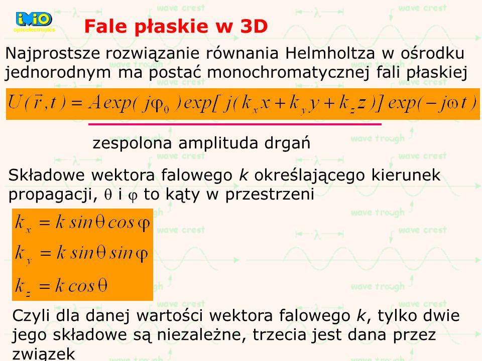 optoelectronics Fale płaskie w 3D. Najprostsze rozwiązanie równania Helmholtza w ośrodku jednorodnym ma postać monochromatycznej fali płaskiej.