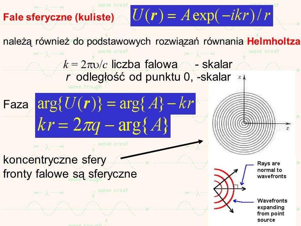 k = 2/c liczba falowa - skalar r odległość od punktu 0, -skalar