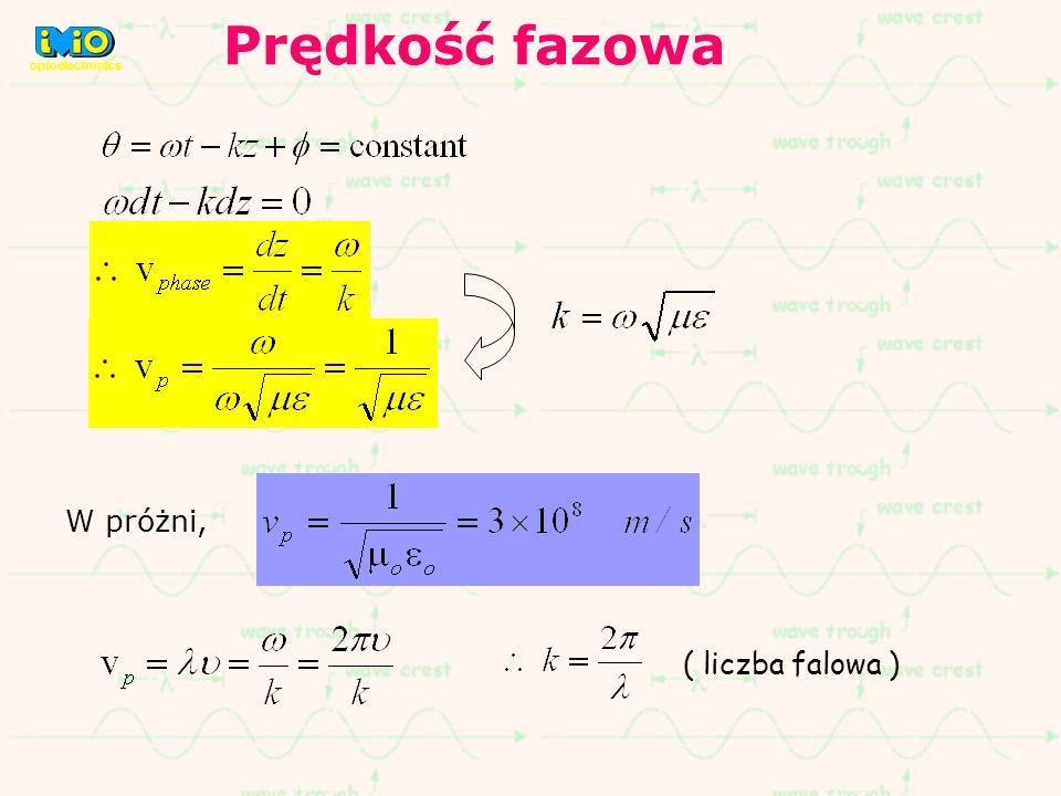 Prędkość fazowa optoelectronics W próżni, ( liczba falowa )