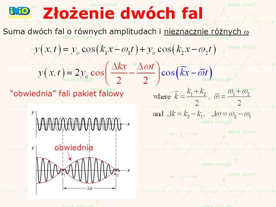 Złożenie dwóch fal optoelectronics. Suma dwóch fal o równych amplitudach i nieznacznie różnych w. obwiednia fali pakiet falowy.