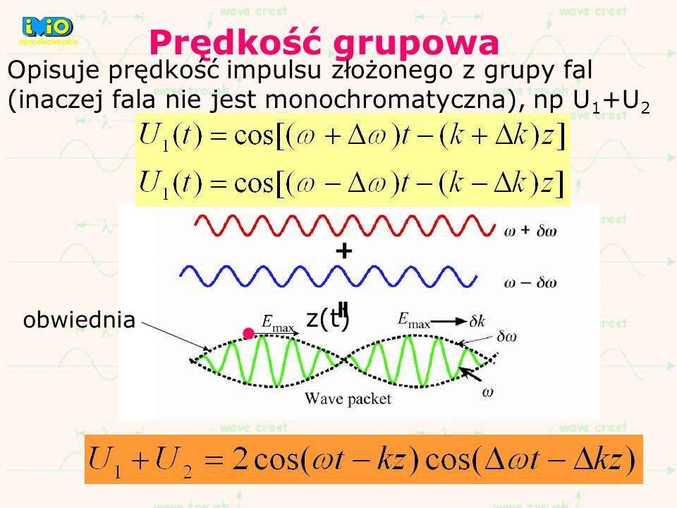 optoelectronics Prędkość grupowa. Opisuje prędkość impulsu złożonego z grupy fal (inaczej fala nie jest monochromatyczna), np U1+U2.