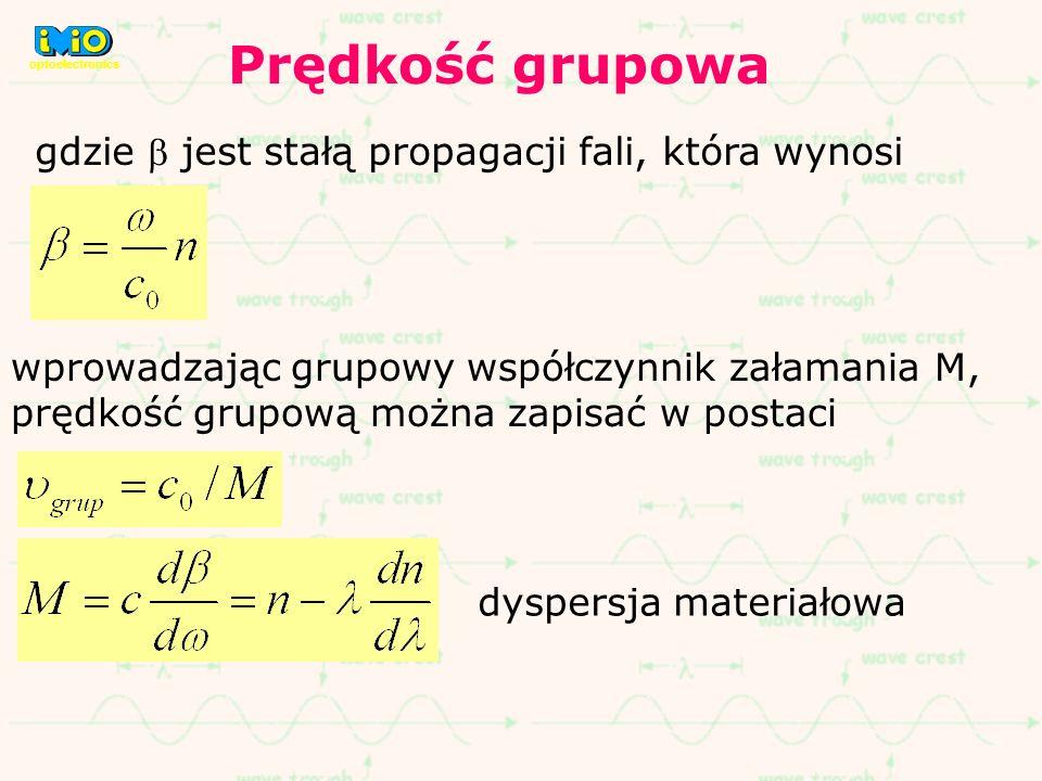 Prędkość grupowa gdzie b jest stałą propagacji fali, która wynosi