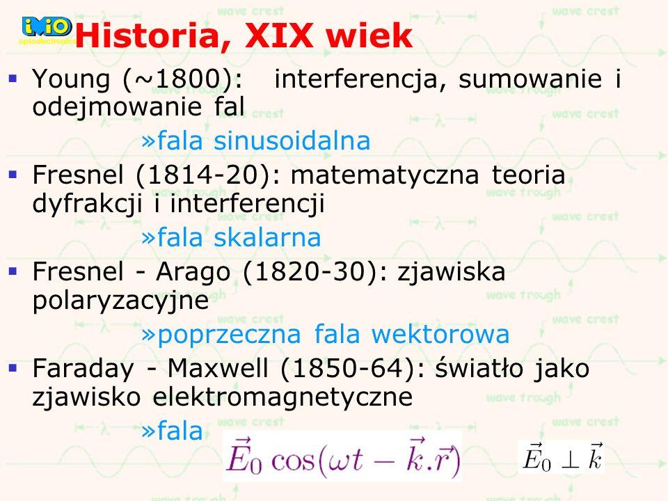 Historia, XIX wiek optoelectronics. Young (~1800): interferencja, sumowanie i odejmowanie fal. fala sinusoidalna.