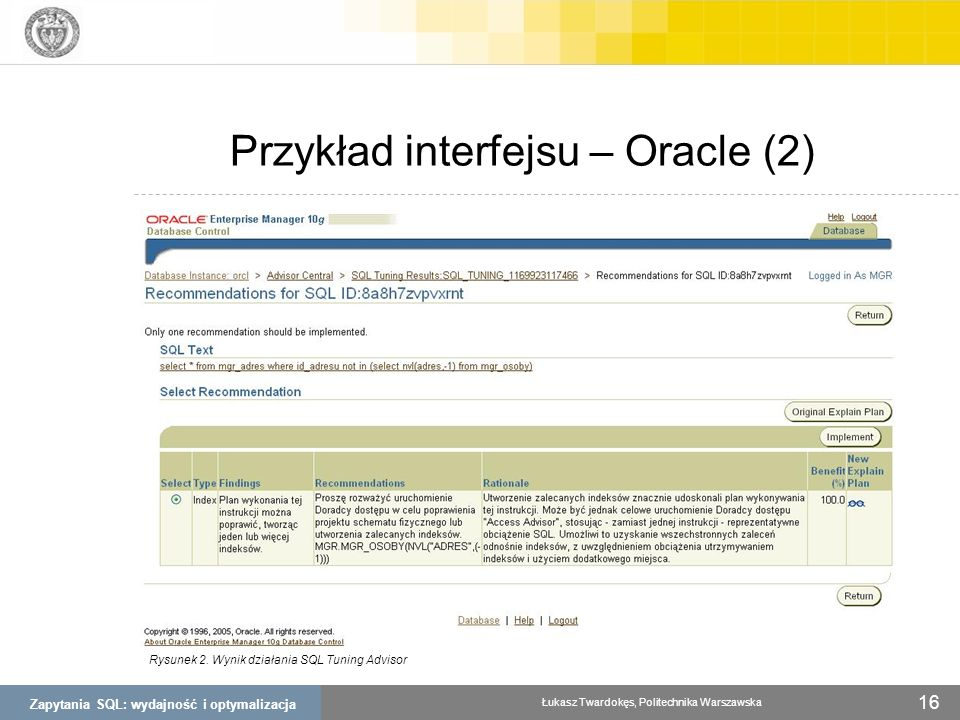 Przykład interfejsu – Oracle (2)