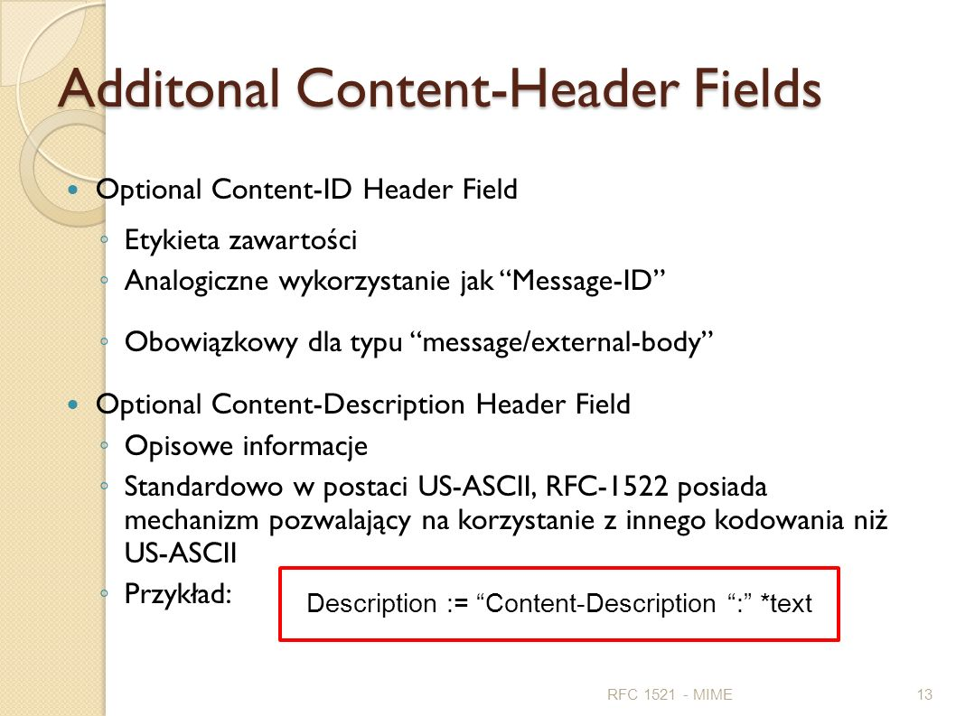 Additonal Content-Header Fields