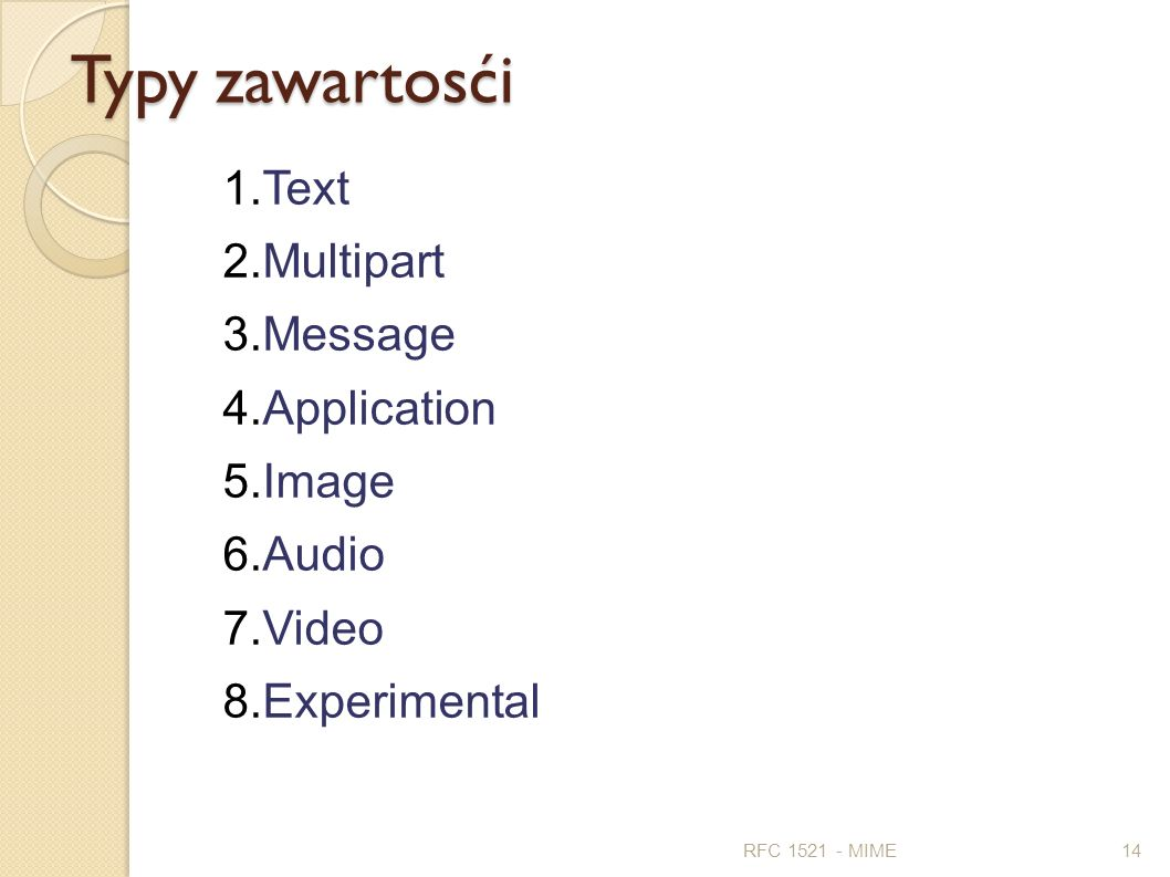 Typy zawartosći Text Multipart Message Application Image Audio Video
