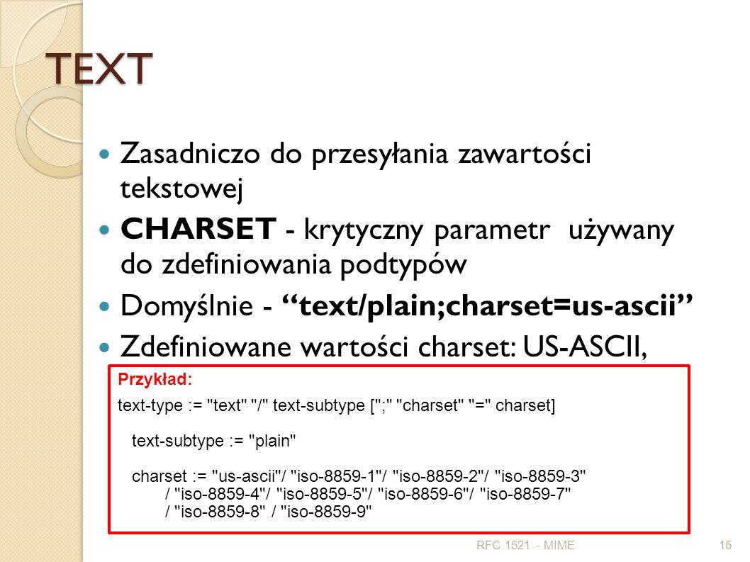 TEXT Zasadniczo do przesyłania zawartości tekstowej