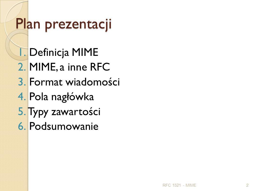 Plan prezentacji Definicja MIME MIME, a inne RFC Format wiadomości