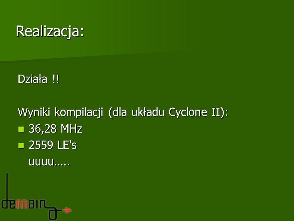 Realizacja: Działa !! Wyniki kompilacji (dla układu Cyclone II):