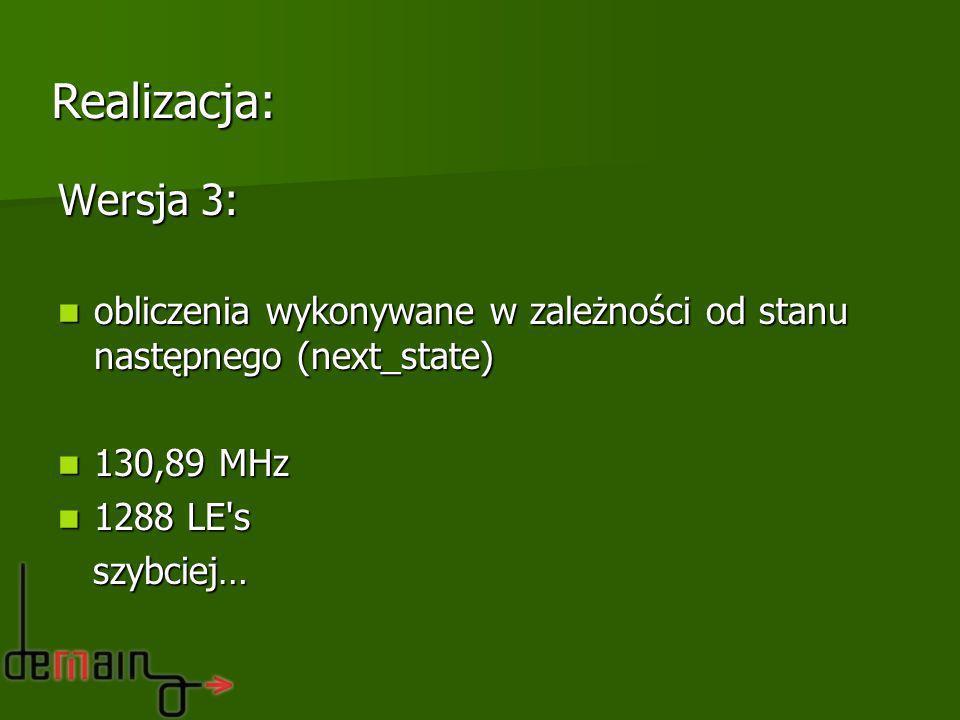 Realizacja: Wersja 3: obliczenia wykonywane w zależności od stanu następnego (next_state) 130,89 MHz.