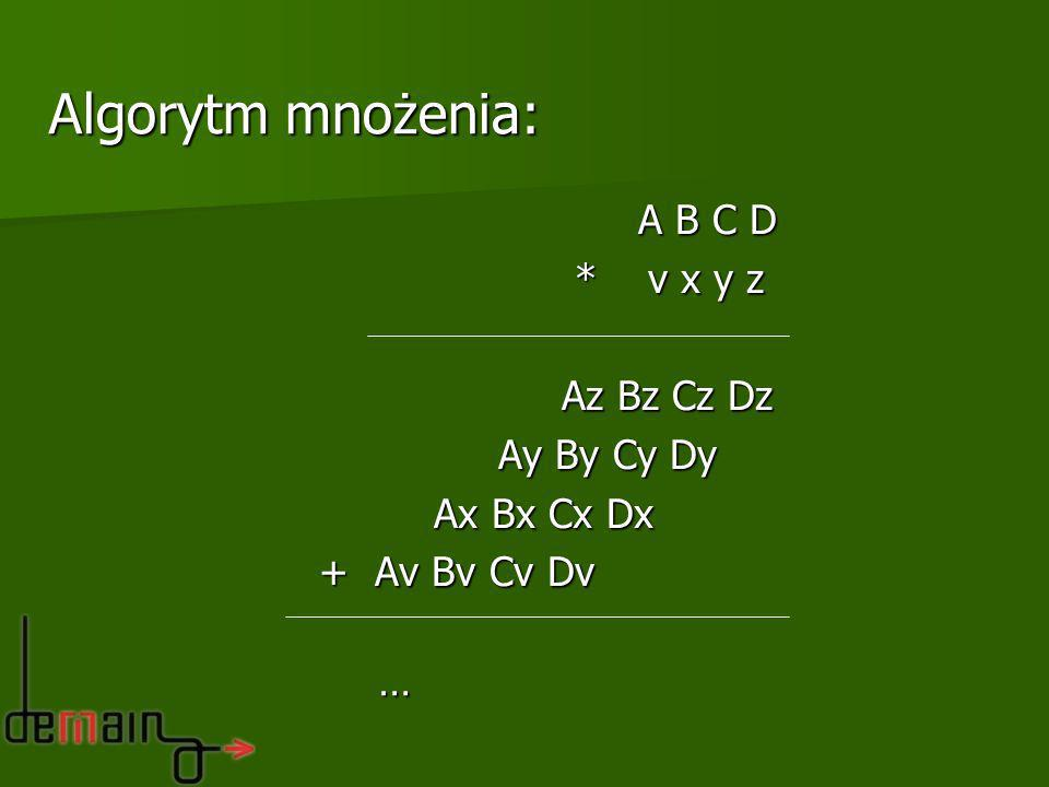 Algorytm mnożenia: A B C D * v x y z Az Bz Cz Dz Ay By Cy Dy