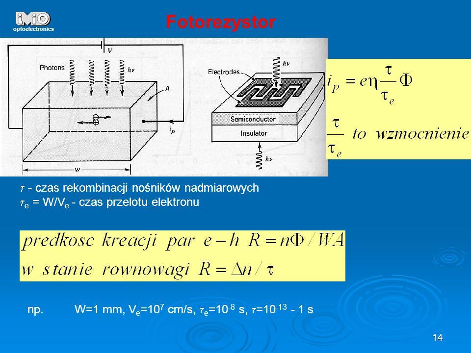 Fotorezystor t - czas rekombinacji nośników nadmiarowych