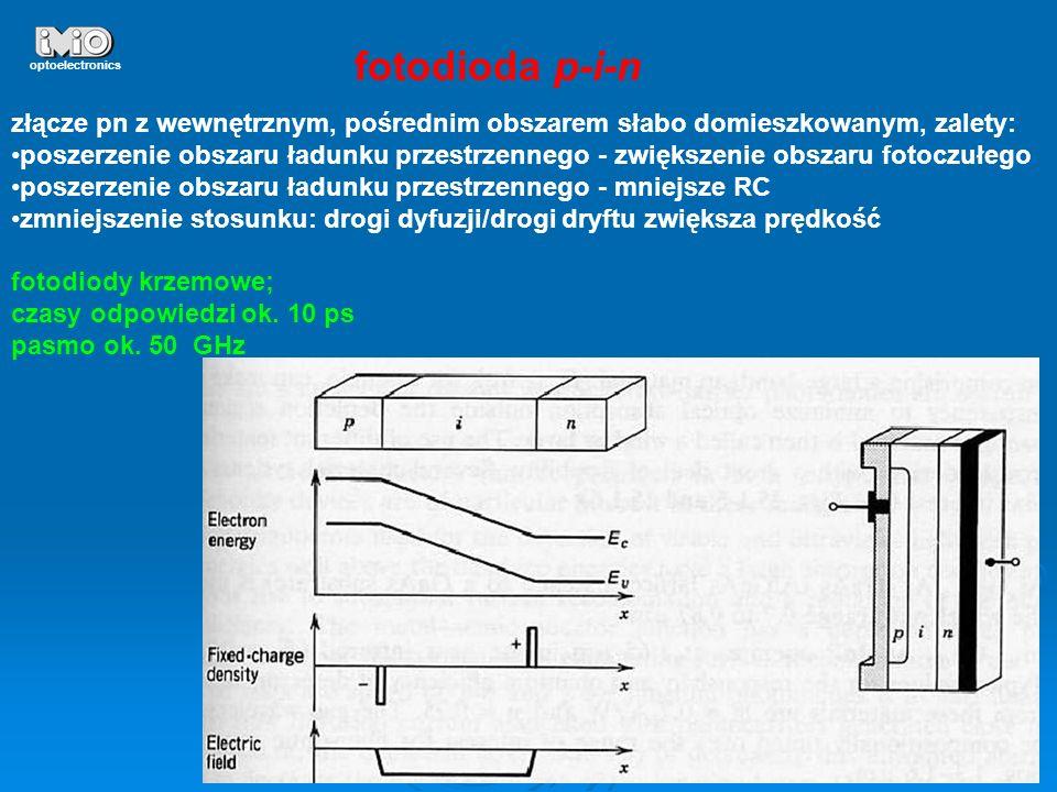 optoelectronicsfotodioda p-i-n. złącze pn z wewnętrznym, pośrednim obszarem słabo domieszkowanym, zalety: