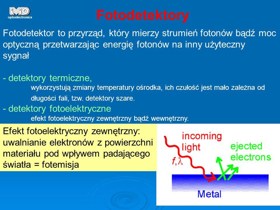 Fotodetektory optoelectronics. Fotodetektor to przyrząd, który mierzy strumień fotonów bądź moc.