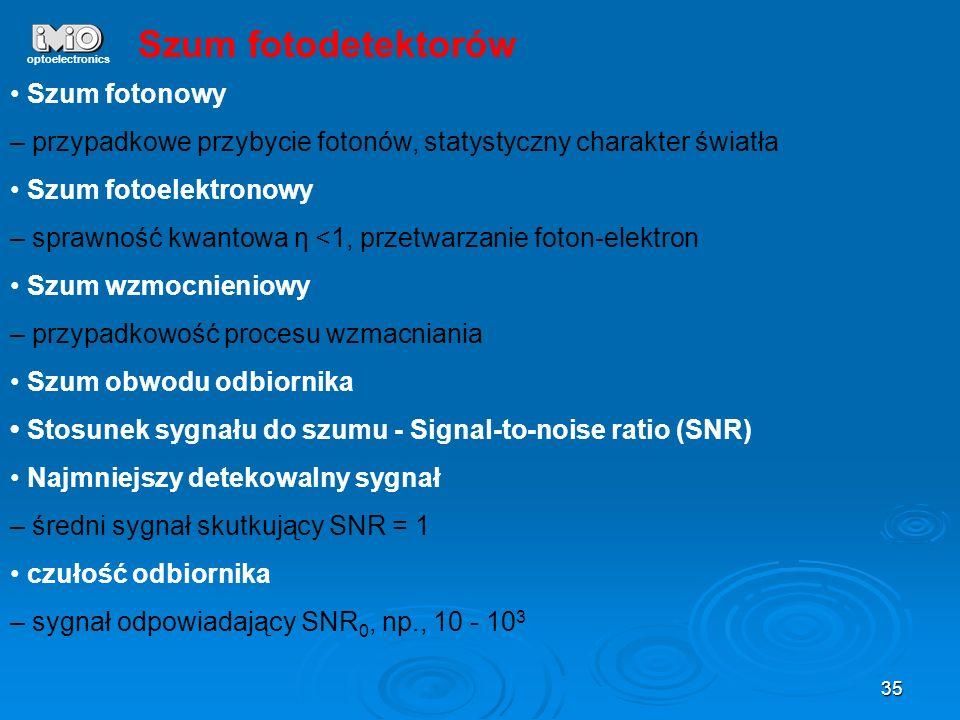 Szum fotodetektorów • Szum fotonowy
