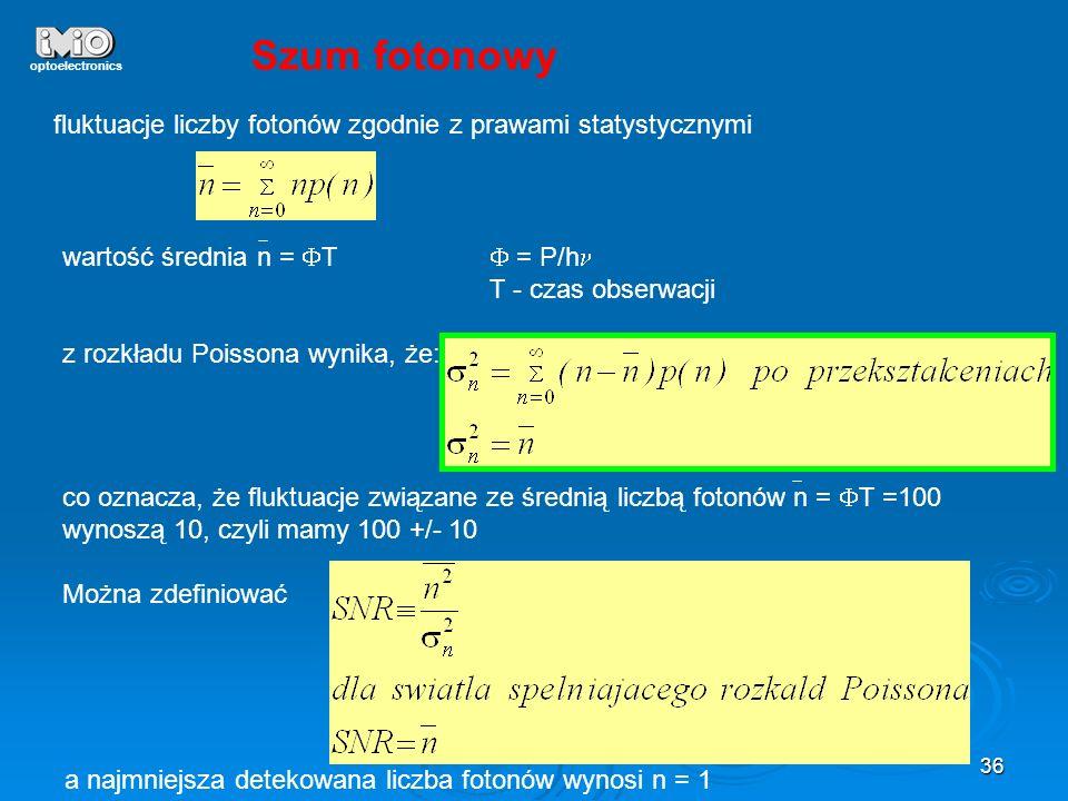 optoelectronics Szum fotonowy. fluktuacje liczby fotonów zgodnie z prawami statystycznymi. wartość średnia n = FT F = P/hn.