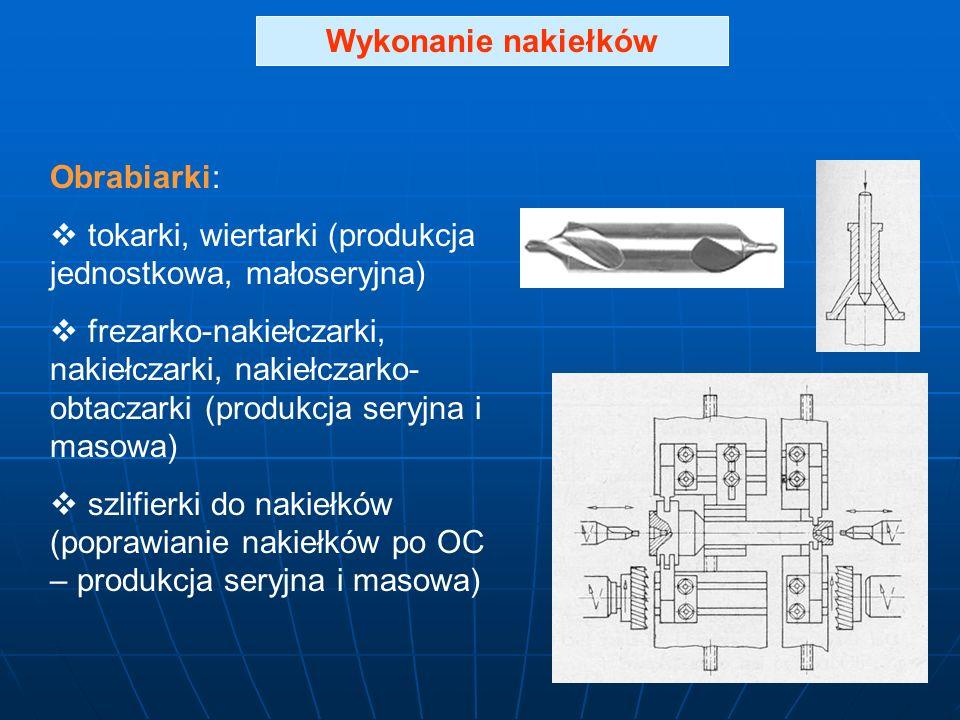 Wykonanie nakiełków Obrabiarki: tokarki, wiertarki (produkcja jednostkowa, małoseryjna)