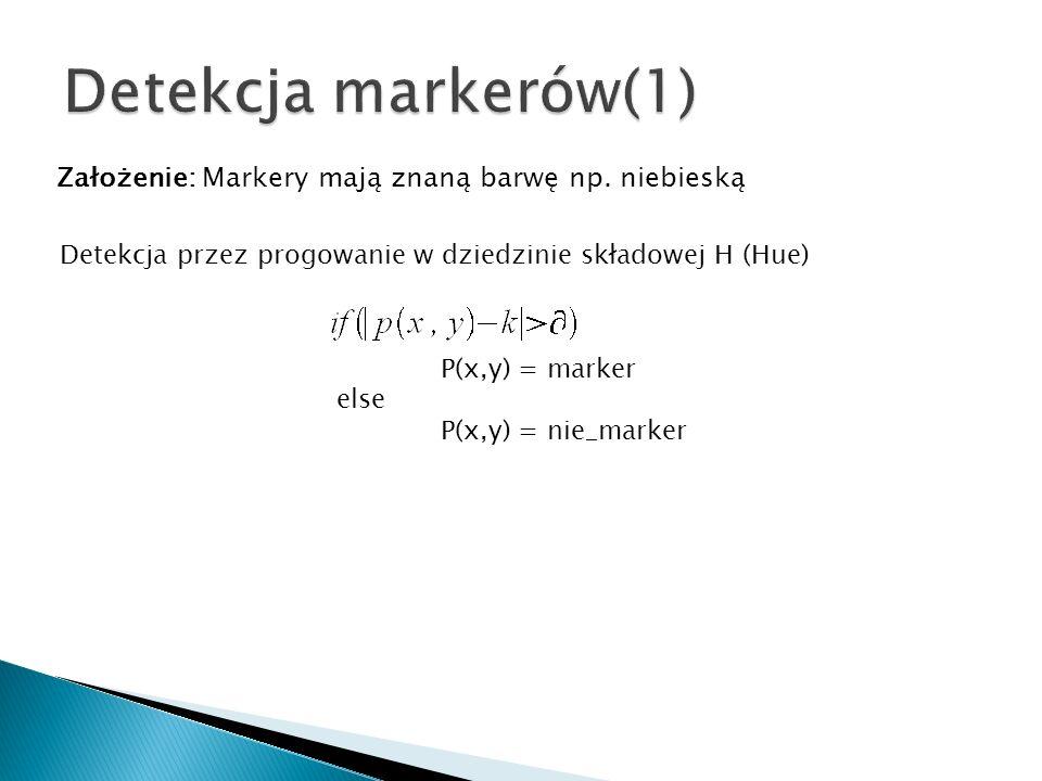 Detekcja markerów(1) Założenie: Markery mają znaną barwę np. niebieską