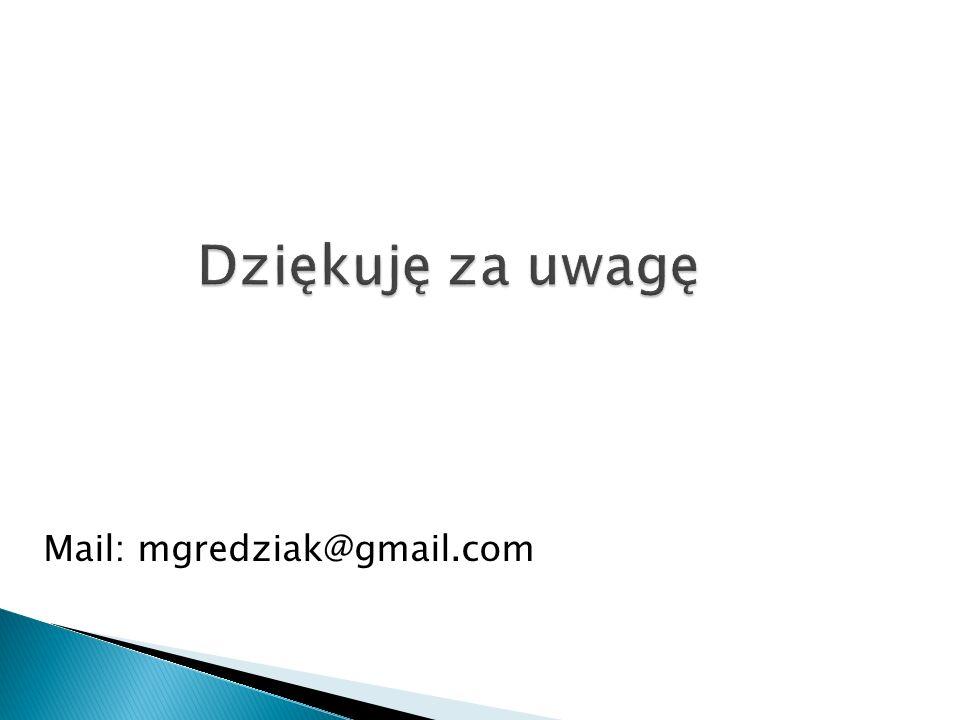 Dziękuję za uwagę Mail: mgredziak@gmail.com