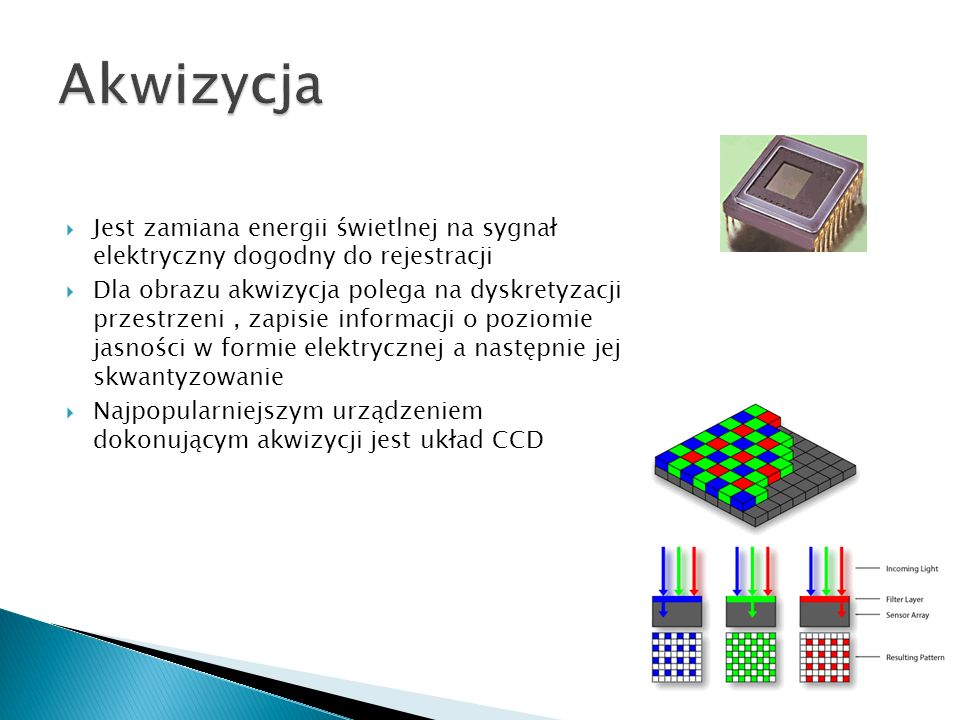 AkwizycjaJest zamiana energii świetlnej na sygnał elektryczny dogodny do rejestracji.