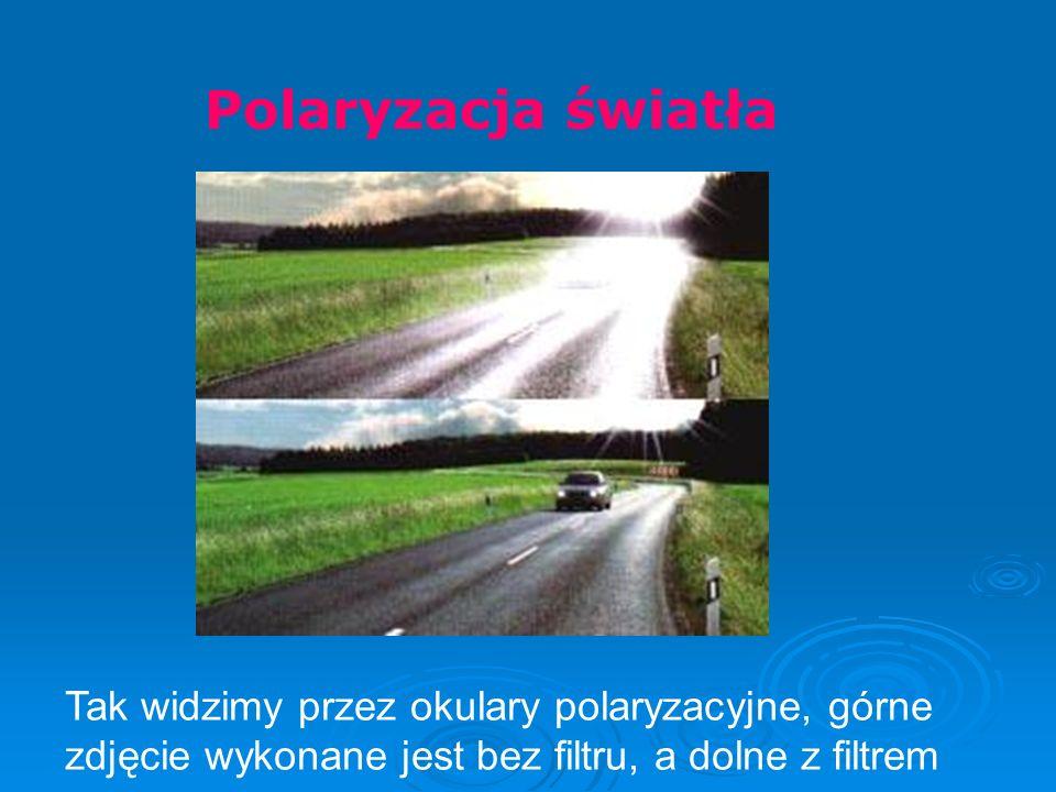 Polaryzacja światłaTak widzimy przez okulary polaryzacyjne, górne zdjęcie wykonane jest bez filtru, a dolne z filtrem.