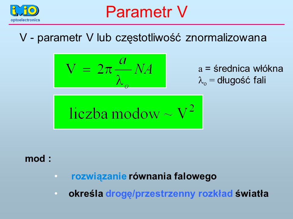Parametr V V - parametr V lub częstotliwość znormalizowana