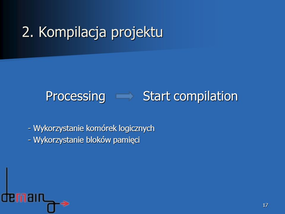 2. Kompilacja projektu Processing Start compilation