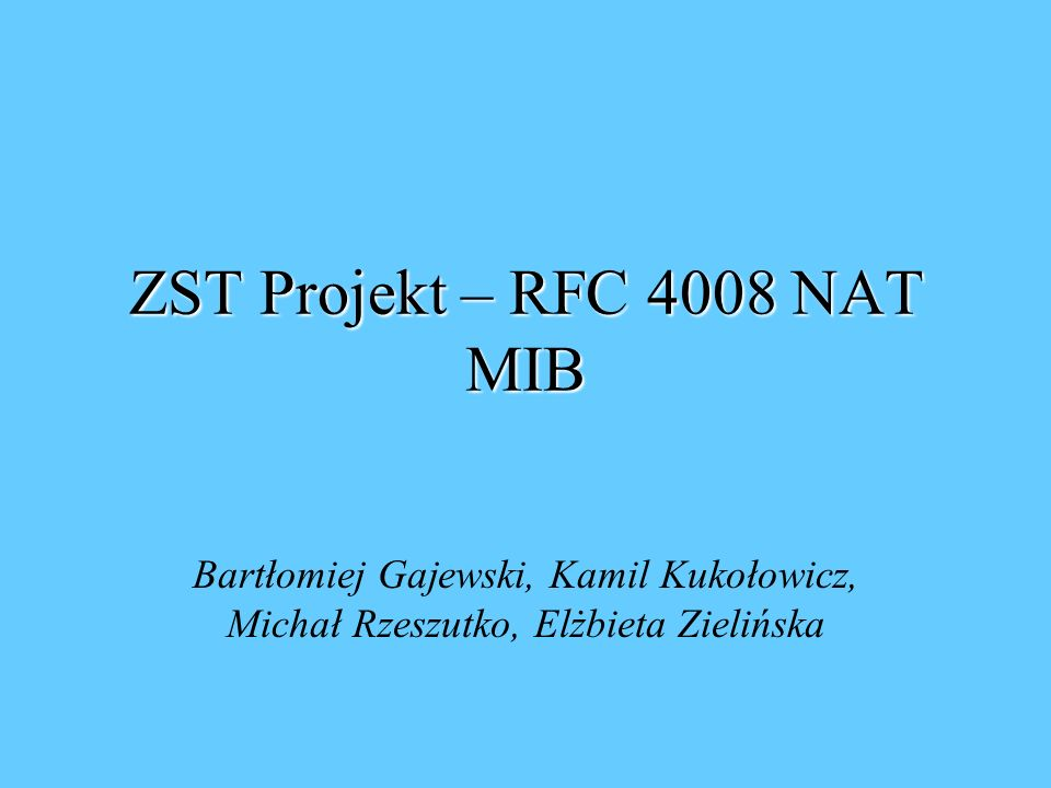 ZST Projekt – RFC 4008 NAT MIB