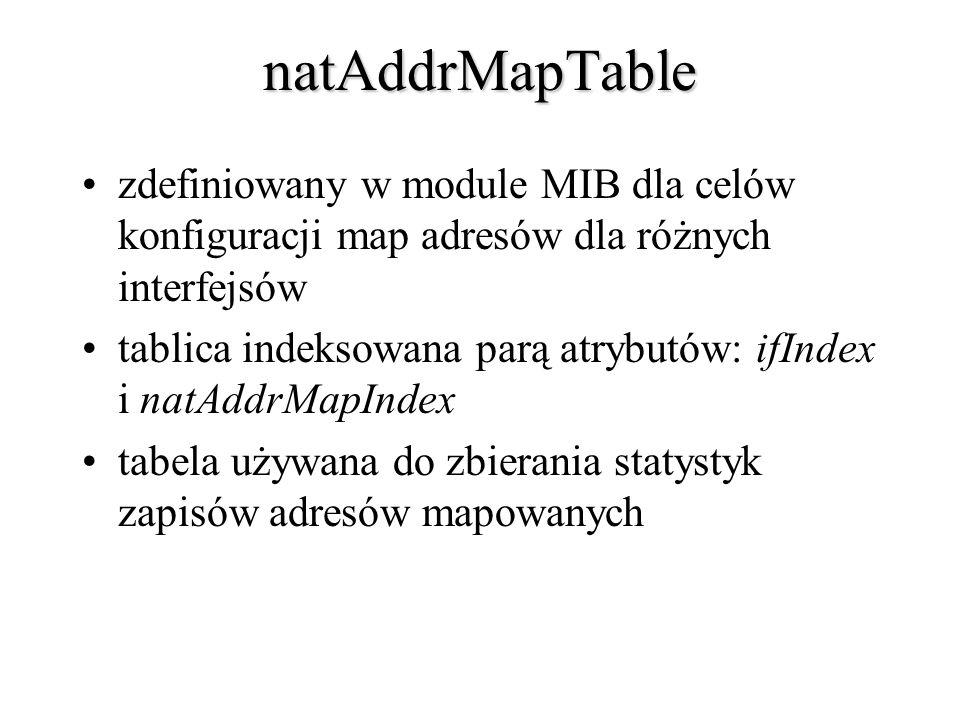natAddrMapTable zdefiniowany w module MIB dla celów konfiguracji map adresów dla różnych interfejsów.