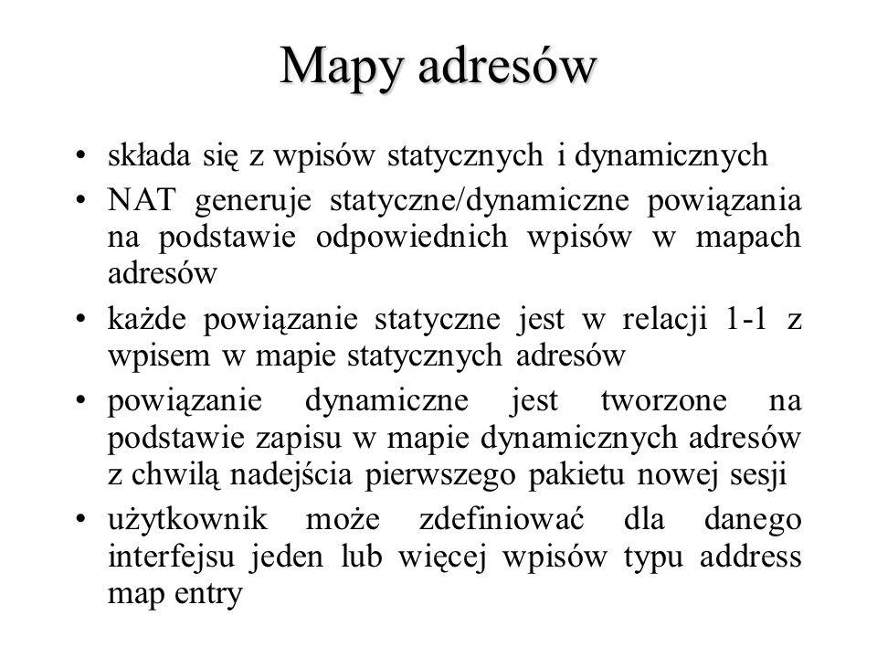 Mapy adresów składa się z wpisów statycznych i dynamicznych