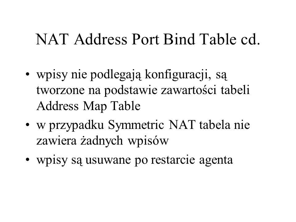 NAT Address Port Bind Table cd.