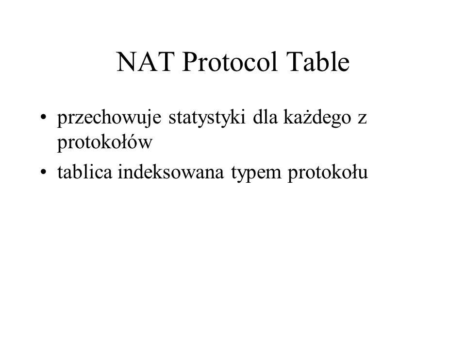 NAT Protocol Table przechowuje statystyki dla każdego z protokołów