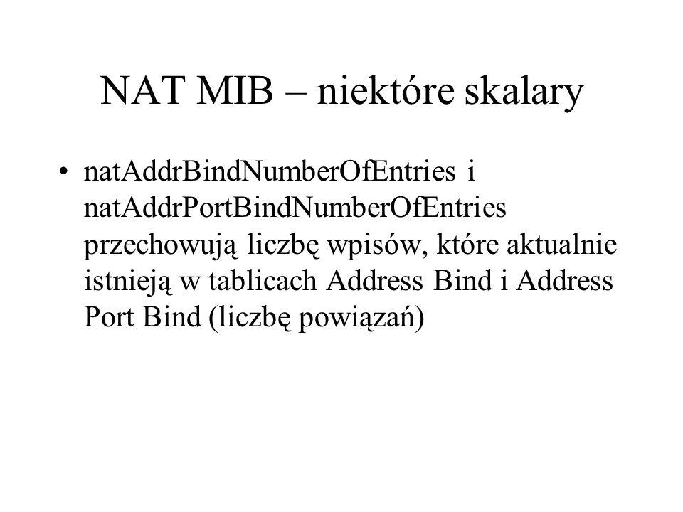 NAT MIB – niektóre skalary