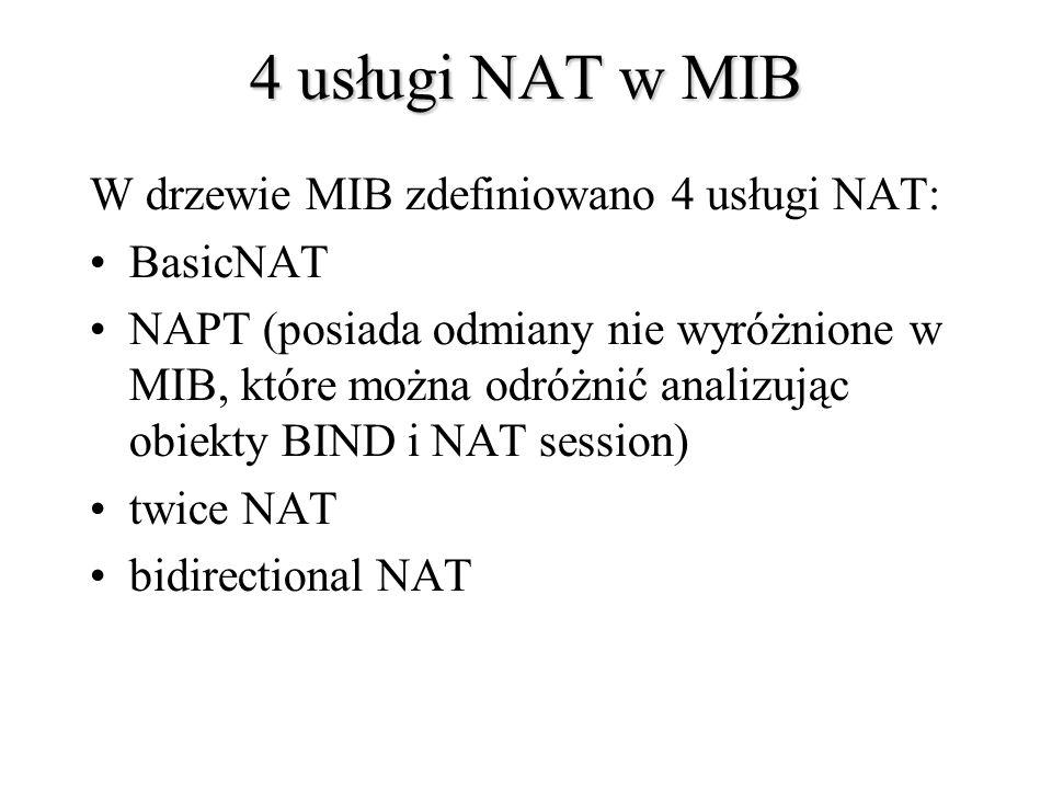 4 usługi NAT w MIB W drzewie MIB zdefiniowano 4 usługi NAT: BasicNAT