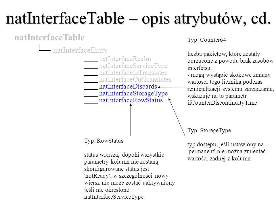 natInterfaceTable – opis atrybutów, cd.