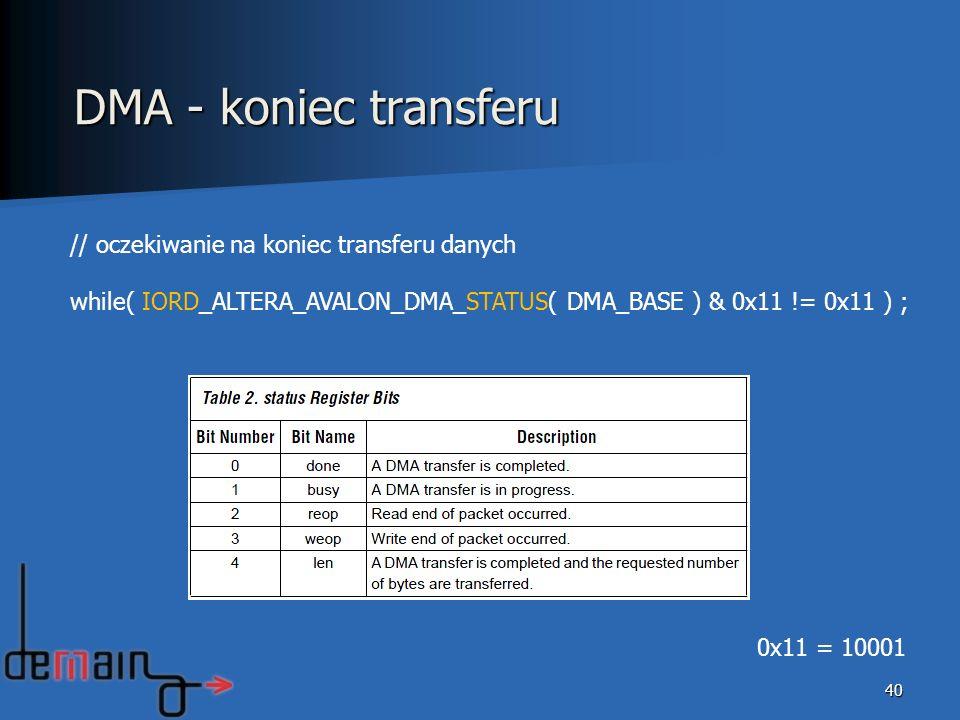 DMA - koniec transferu // oczekiwanie na koniec transferu danych