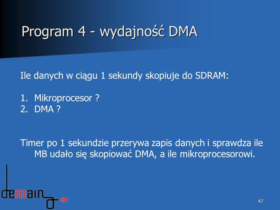 Program 4 - wydajność DMA