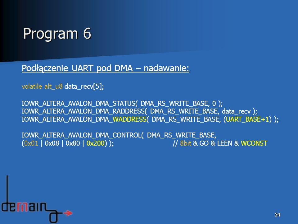 Program 6 Podłączenie UART pod DMA – nadawanie: