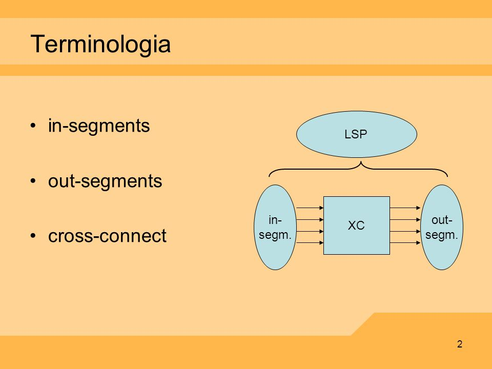 Terminologia in-segments out-segments cross-connect LSP XC in- segm.