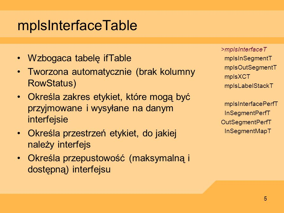 mplsInterfaceTable Wzbogaca tabelę ifTable
